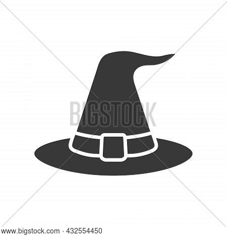 Halloween Witch Hat Icon. Black Wizard Hat Silhouette. Magic Cloth Element. Vector Isolated On White