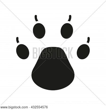 Paw Icon. Black Print Paw Trace. Unknown Animal Footprint. Vector Isolated On A White.