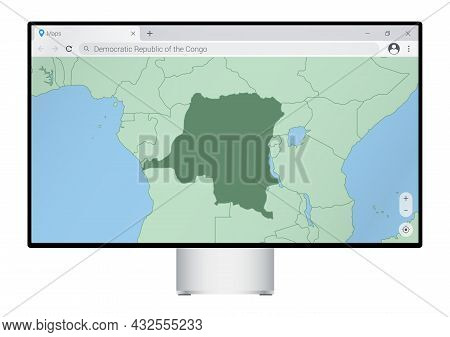 Computer Monitor With Map Of Dr Congo In Browser, Search For The Country Of Dr Congo On The Web Mapp