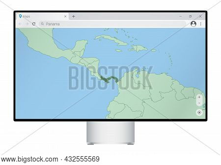 Computer Monitor With Map Of Panama In Browser, Search For The Country Of Panama On The Web Mapping