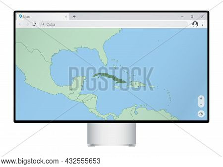 Computer Monitor With Map Of Cuba In Browser, Search For The Country Of Cuba On The Web Mapping Prog