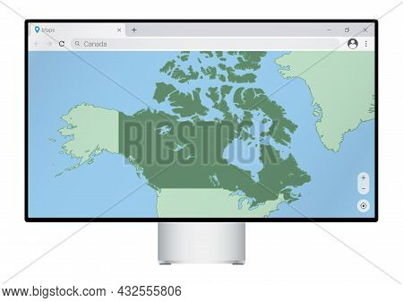 Computer Monitor With Map Of Canada In Browser, Search For The Country Of Canada On The Web Mapping