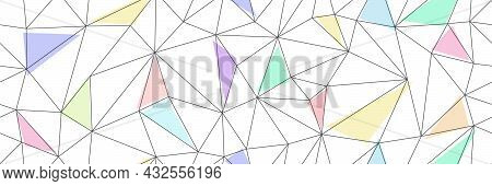 Seamless Vector Linear Pattern Forms Triangles With Colored Elements. Vector Illustration For Textur