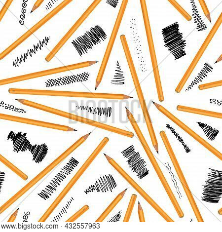 A Set Of Yellow Pencils Of Different Hardness With Examples Of Stiffness. Vector Image On White Back
