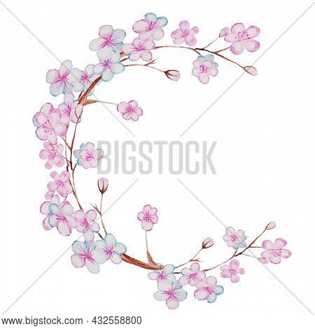Surrounded By Flowers Blooming Young Flower On A Branch, Blooming Tree In Spring, Cherry Or Sakura I