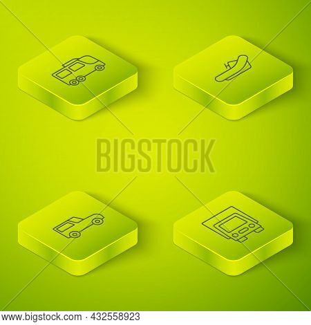 Set Isometric Line Rafting Boat, Car, Delivery Cargo Truck And Bus Icon. Vector