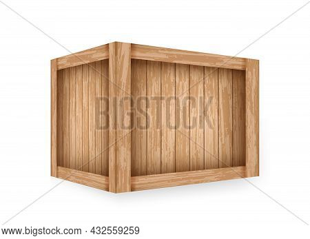 Realistic Wooden Crate Mockup Template. Wooden Closed Wooden Box Illustration. Vintage Container For