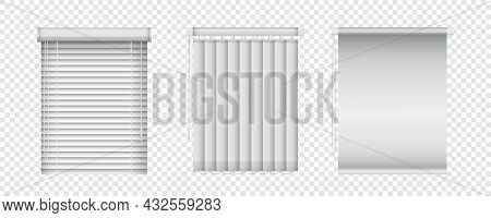 Realistic Window Blinds Set. Horizontal And Vertical Shutters For Plastic Windows. Vector Closed Jal