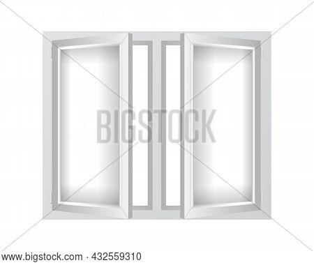 Realistic Plastic Window Mockup Template. Double Pvc Window With Half Open Casements. Windowpane Fra