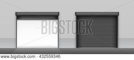 Open And Closed Roller Shutter Gates. Black Roller Shutter Doors On Light Grey Wall Of Building. Met