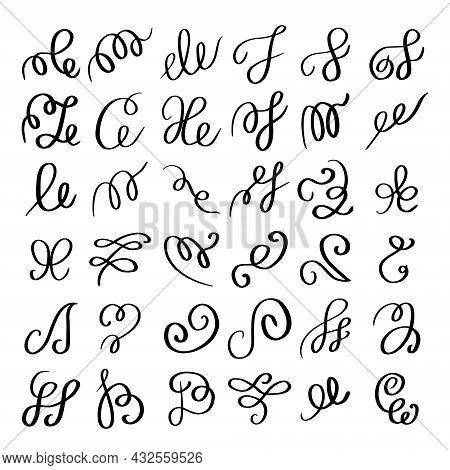 Set Of Hand Drawn Calligraphic Flourish Elements. Decorative Black Ink Swirls Collection