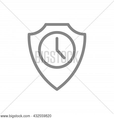 Protective Shield With Clock Line Icon. Protection, Working Time, Protection Time