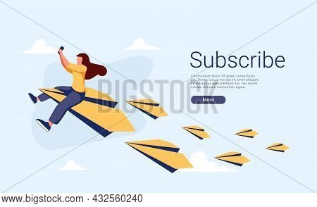 Young Woman Or Female Character Sitting And Flying On Paper Plane And Sending Message. Concept Of Em