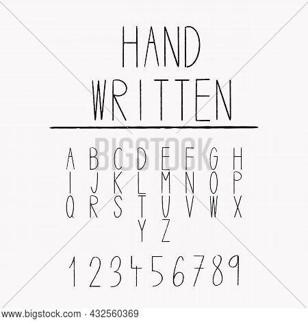 Hand Written Font Letter Uppercase.  Handwritten Calligraphy. Alphabet Number - Vector. Tiny Slim Le