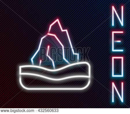 Glowing Neon Line Iceberg Icon Isolated On Black Background. Colorful Outline Concept. Vector