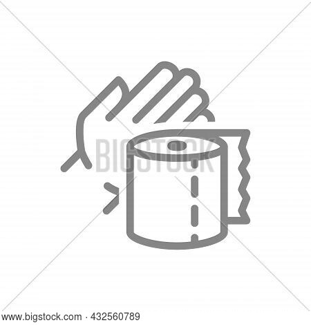 Paper Towels In Hand Line Icon. Paper Roll, Use Of Paper, Personal Hygiene, Personal Hygiene