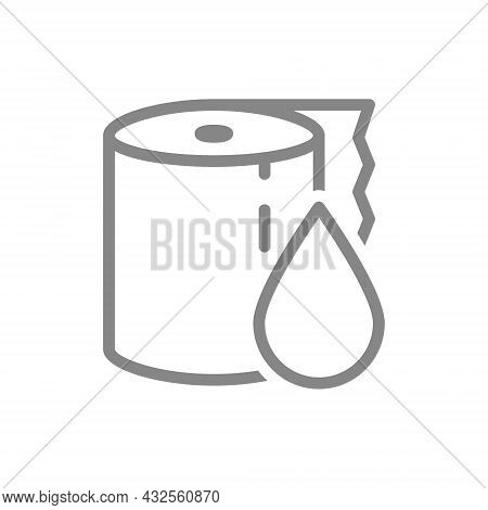 Paper Towels And Drop Line Icon. Paper Roll, Personal Hygiene, Wet Wipes, Wipes For Intimate Hygiene