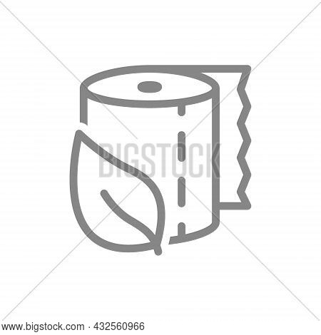 Toilet Paper With A Leaf Line Icon. Paper Roll, Eco Material, Useful Items, Personal Hygiene Items,
