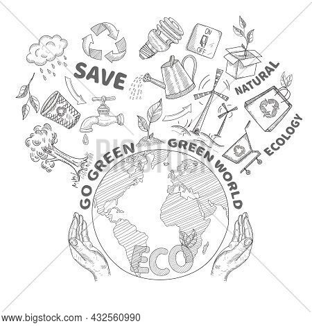 Hands Holding And Protecting Globe Environment Conservation And Ecology Concept Doodle Vector Illust