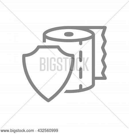Toilet Paper With Shield Line Icon. Paper Roll, Cleanliness Protection, Personal Hygiene