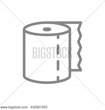 Toilet Paper Line Icon. Paper Roll, Tear-off Strip, Hygiene Products