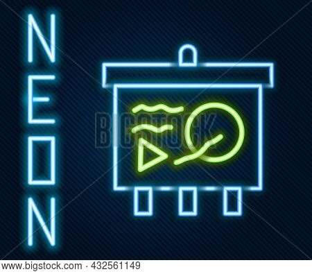 Glowing Neon Line Scenario On Chalkboard Icon Isolated On Black Background. Script Reading Concept F