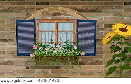 Window With Shutters And Flowers.brick Wall Of A House With A Window And Flowers In A Box In Color V