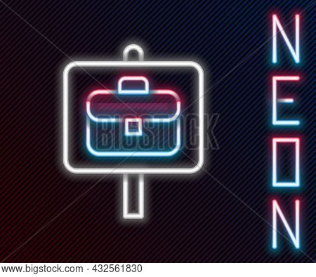 Glowing Neon Line Magnifying Glass With Briefcase Icon Isolated On Black Background. Job Hunting. Wo