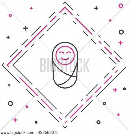 Line Newborn Baby Infant Swaddled Or Swaddling Icon Isolated On White Background. Baby Kid Child Wra