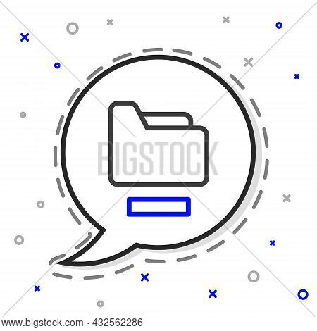 Line Document Folder Icon Isolated On White Background. Accounting Binder Symbol. Bookkeeping Manage
