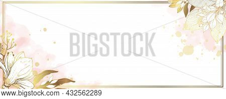 Luxurious Golden Wallpaper. Banner With A White Background. Pink And Gold Watercolor With Spots. Mag