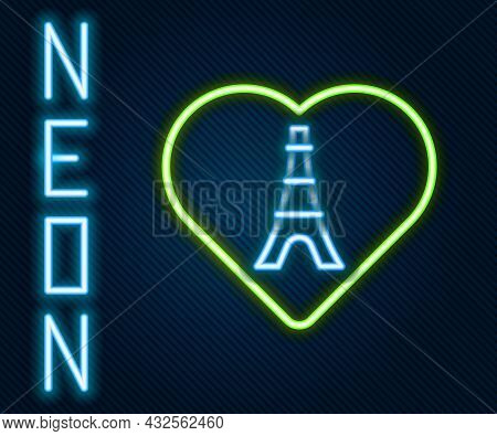 Glowing Neon Line Eiffel Tower With Heart Icon Isolated On Black Background. France Paris Landmark S