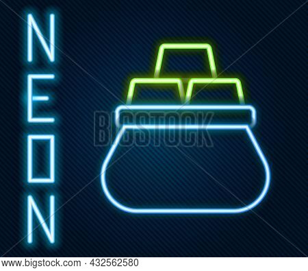 Glowing Neon Line Bag Of Gold Bars Icon Isolated On Black Background. Sack With Golden Bars. Colorfu