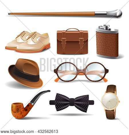 Gentleman Realistic Accessories Decorative Icons Set With Cane Shoes Smoking Pipe Isolated Vector Il
