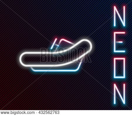 Glowing Neon Line Rafting Boat Icon Isolated On Black Background. Inflatable Boat With Paddles. Wate