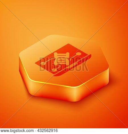 Isometric Genetic Engineering Modification On Laptop Icon Isolated On Orange Background. Dna Analysi