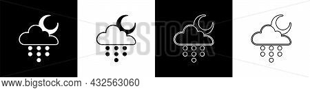 Set Cloud With Rain And Moon Icon Isolated On Black And White Background. Rain Cloud Precipitation W