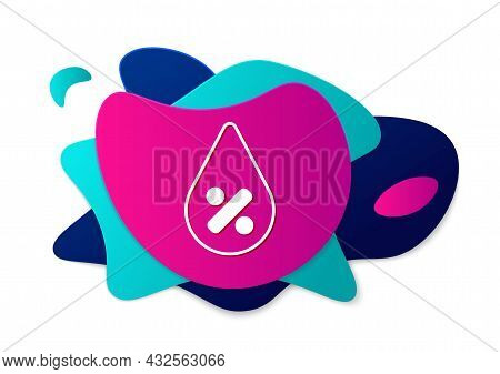 Color Water Drop Percentage Icon Isolated On White Background. Humidity Analysis. Abstract Banner Wi