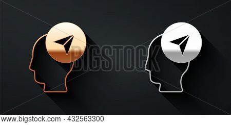 Gold And Silver Map Marker With A Silhouette Of A Person Icon Isolated On Black Background. Gps Loca