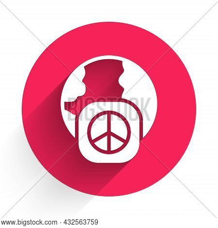 White International Day Of Peace Icon Isolated With Long Shadow. World Peace. Red Circle Button. Vec