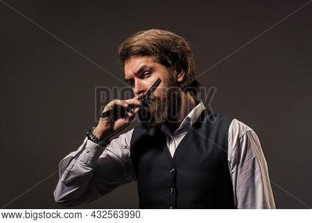 Man Hairdresser Barbershop Stylist Well Groomed Appearance, Skilled Master Concept