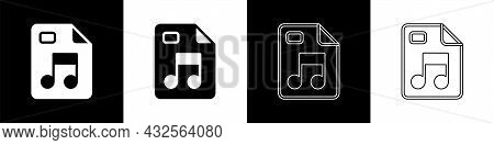 Set Mp3 File Document. Download Mp3 Button Icon Isolated On Black And White Background. Mp3 Music Fo