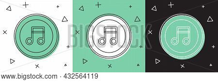 Set Music Note, Tone Icon Isolated On White And Green, Black Background. Vector