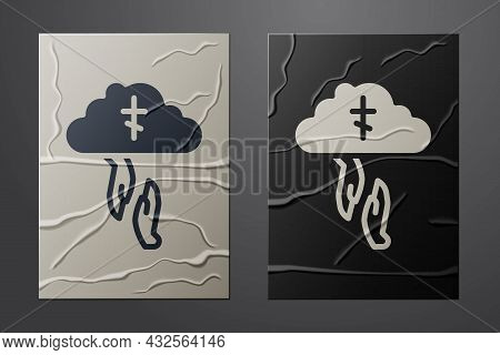 White Gods Helping Hand Icon Isolated On Crumpled Paper Background. Religion, Bible, Christianity Co
