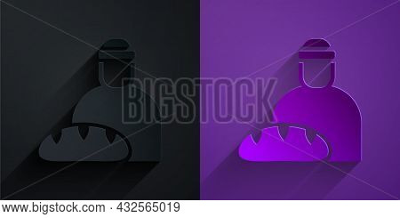 Paper Cut Feeding The Homeless Icon Isolated On Black On Purple Background. Help And Support. Giving