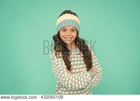 Keep Head In Warmth. Cozy And Comfortable. Winter Fashion For Active Rest. Child Wearing Knitwear.