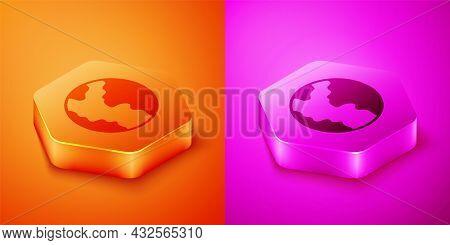 Isometric Global Economic Crisis Icon Isolated On Orange And Pink Background. World Finance Crisis.