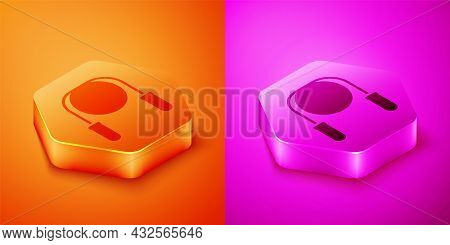 Isometric Jump Rope Icon Isolated On Orange And Pink Background. Skipping Rope. Sport Equipment. Hex