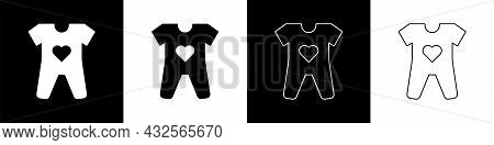 Set Baby Clothes Icon Isolated On Black And White Background. Baby Clothing For Baby Girl And Boy. B