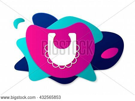 Color Baby Bib Icon Isolated On White Background. Abstract Banner With Liquid Shapes. Vector
